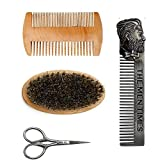 Loriver Juego de Peine para Barba, Kit de Cepillo para Barba, Herramienta de Modelado y Peinado de Barba Juego de Cepillo y Peine para Barba para Hombres