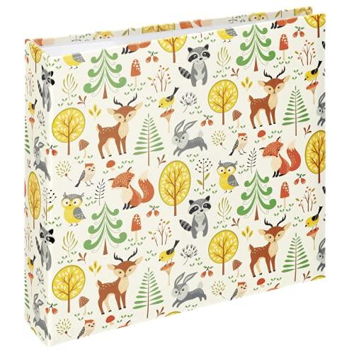 Hama Album photo mémo 'Forest' (pour 200 photos au format 10 x 15 cm, album traditionnel enfant de 22,5 x 22 cm, 100 pages blanches, animaux, élégant, emplacement CD) Marron/Beige/Vert/Orange/Jaune
