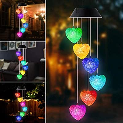 Crystal Heart Solar Power Wind Chime, Color Changing Wind Chime Mobile Portable Waterproof Outdoor Windchime Light for Patio Yard Garden Home (Crystal Heart)