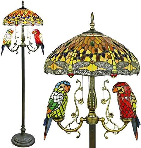Dekorative Stehlampe, magische Beleuchtungsoptionen, moderne Stehlampe, Raumleuchte, Libelle, Papagei, Stehleuchte, Tiffany-Stil, ländliches Buntglas, Lampenschirm, Bodenfluter, 165 cm hoch