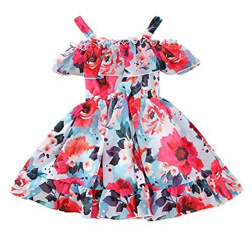 Kobay Frühling und Sommer Kleinkind Baby Kinder Mädchen Rüschen Ärmellose Blumendruck Slip Kleid Prinzessin Kleid