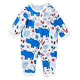 0-18 Meses,SO-buts Bebés Niñas Niños Otoño Invierno Floral Leche Vaca Letra Imprimir Mono Mameluco Ropa Casual (Azul,3-6 meses)
