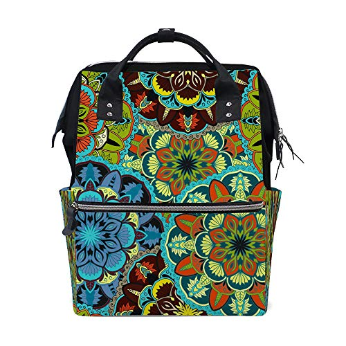 HaoXiang Multifunktions-Rucksack, für Damen, Rucksäcke für Windeln, hohe Kapazität, Studentententasche, Ottomanen-Motive