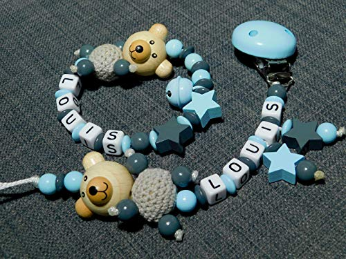 Schnullerkette & Greifling mit Namen für Jungs im set mit Bärchen und Sternen-Taufgeschenk-Geschenk zur Geburt, babyrassel und Schnullerkette