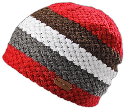Crevice Bonnet tricoté pour Adulte Noir Taille Unique Rouge - Rouge