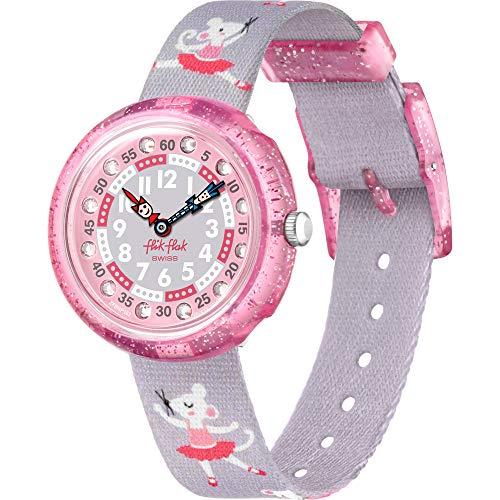 [フリック フラック] 腕時計 ピルエットピンク&グレー織物ウォッチ FBNP162 [並行輸入品]