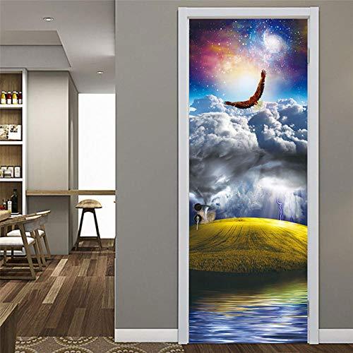 XLXYD deurstickers schilderijen vintage ondergrondse wijnkelderinstallatie 3D deur sticker behang zelfklevend deurbehang deurfolie motief Forest Shine voor alle deuren in het formaat 80x200cm A2