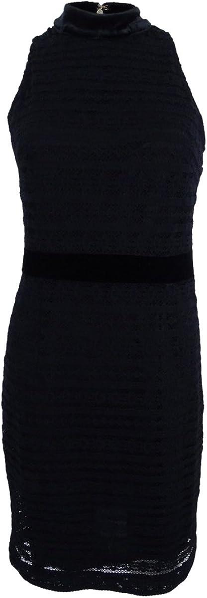Tommy Hilfiger Womens Lace Mock Neck Party Dress Black 10
