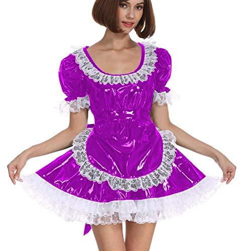 Cosplay Blanco Lace Distribuidor Cosplay Costume Dama Manga Corta Lolita Mini Vestido Precioso Vestido de Lujo de Cosplay con Delantal Traje mucama (Color : Rose Purple, Size : XXL)