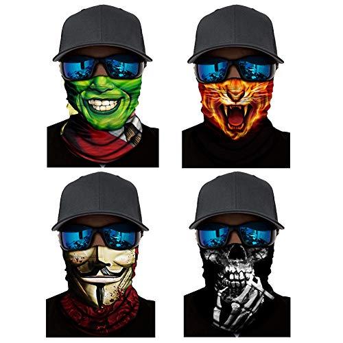4PCS Halloween Tube Bandana Face Mask Neck Gaiter Clown, Joker,Skull, Skeleton Smoking Funny, Scary (4PCS SKULL-K)