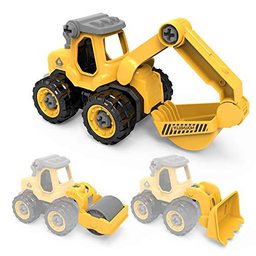 tech rc Vehículos de Construcción para Niños, 3 en 1 Tractor/ Camión de Hormigón / Camión de Ingeniería Desmontable,Coche de Juguete con Destornillador,Juguetes Educativos Regalos para Niños 3-6 Años
