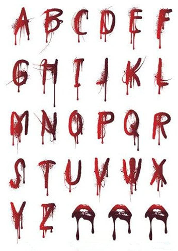 Set of 2 Waterproof Temporary Fake Tattoo Stickers Cool Sexy Bloody Halloween Alphabet Letters