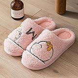 Zapatillas antideslizantes Comfort para hombres y mujeres,Lindos zapatos de algodón de suela gruesa, pantuflas cálidas antideslizantes para el hogar-pink_35-36,zapatos de casa con suela antides