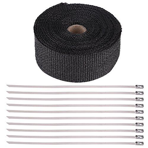 Qiilu 16FT Black High Heat Isolierung Auspuff Pipe Wrap Tape Tuch für Auto Motorrad