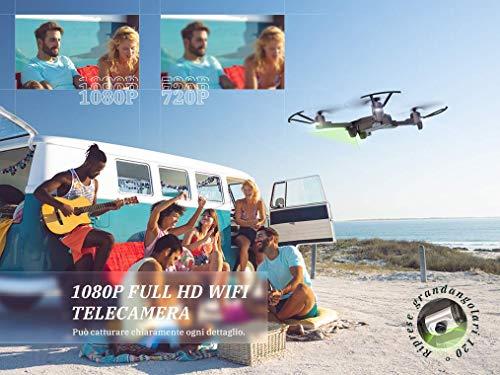 SNAPTAIN A15F Drone con Telecamera 1080P FPV, Quadricottero WiFi con Tecnologia Flusso Ottico, modalità Segna e Traccia, Volo Circolare, G-Sensore, Adatto ai Principianti