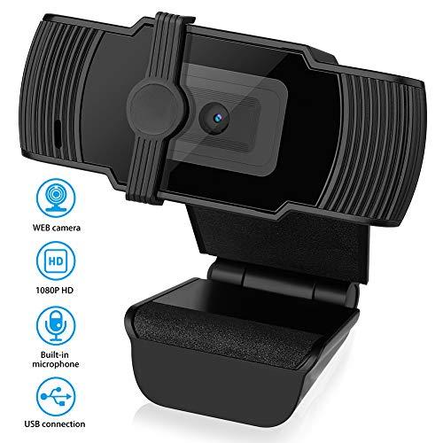 Pannow 1080P Webcam mit Mikrofon & Privatsphäre Abdeckung, Webcam USB-Kamera, Autofocus Webcam Computer HD Streaming Webcam für PC Desktop & Laptop