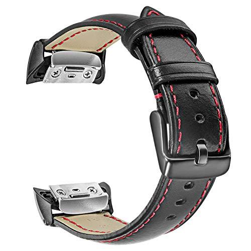 TRUMiRR Gear Fit2 Correa de Reloj, Correa de Cuero Genuino Correa Deportiva Pulsera de muñeca para Samsung Gear Fit 2 SM-R360 / Fit 2 Pro SM-R365 Reloj Inteligente