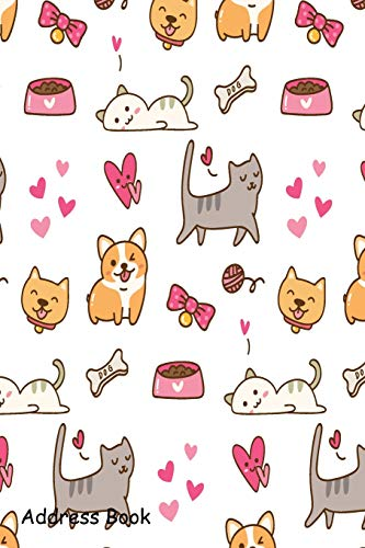 Address Book: For Contacts, Addresses, Phone, Email, Note,Emergency Contacts,Alphabetical Index With Dog and cat kawaii