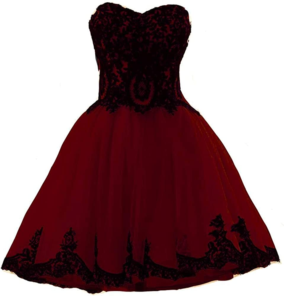 Kivary Mesa Mall Short Tulle Black Lace Homecoming Gothic Cocktail Prom Pa shopping