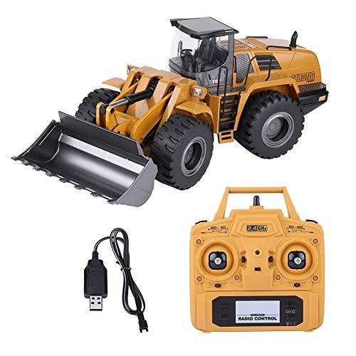 Dilwe Control Remoto Bulldozer RC Vehiculo de Ingenieria de Juguete, 2.4G 1:14 RC Loader Tractor Construccion Electrica Modelo de Coche de Juguete para Ninos ⭐