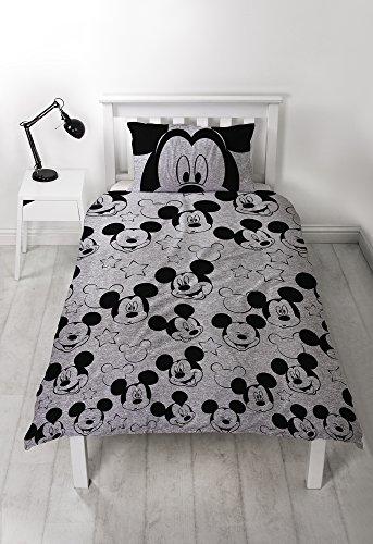 Disney Mickey Mouse - Funda de edredón Individual, Color Gris, 135 x 200 cm