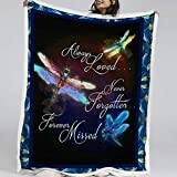 BlessLiving Blue Dragonfly Throws and Blankets Neon Dragonflies Home Throw Blanket Sherpa Flannel Fleece Reversible Blanket (Throw, 50 x 60 Inches)
