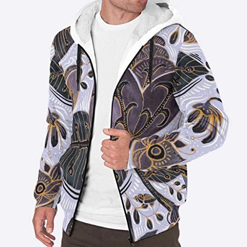 Dogedou Heren Rits Hoodie Jacket Winter Thicken Fleece Patroon Plant Patroon Jas