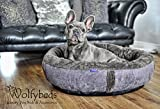 Wolfybeds Medium Round Fleece Dog Bed in Slate Grey 79cm x 79cm (31' x 31') washable covers