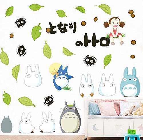 Wandaufkleber Totoro Abnehmbare Cartoon Kinderzimmer Schuhregal Junge Raumdekoration Tier Grünes Blatt Chinchillas 30X30Cm