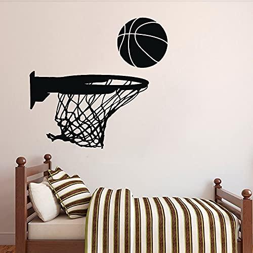 Basketball Hoop Wall Vinyl Sticker for Boys Room Sports Decor Garage Man Cave Decoration Wall Decals Bedroom Murals 57x54cm