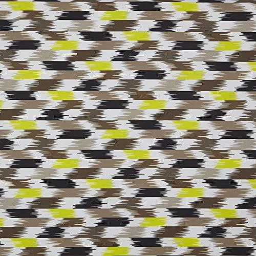 Kt KILOtela Tela de loneta Estampada Digital - Half Panamá 100% algodón orgánico, Oeko-Tex Standard 100 - Retal de 100 cm Largo x 280 cm Ancho | Geométrico Monet - Marrón, Amarillo ─ 1 Metro