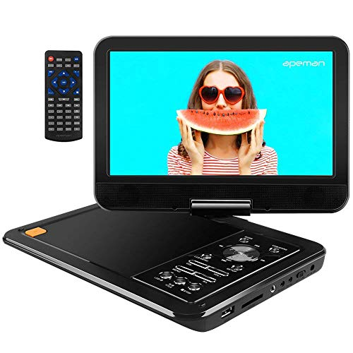 "APEMAN Upgraded 12.5"" Portable DVD Player with Built-in Rechargeable Battery SD Card and USB AV IN/OUT with 10.5'' Swivel Screen Supported Direct Play in Formats AVI/RMVB/MP3/JPEG"