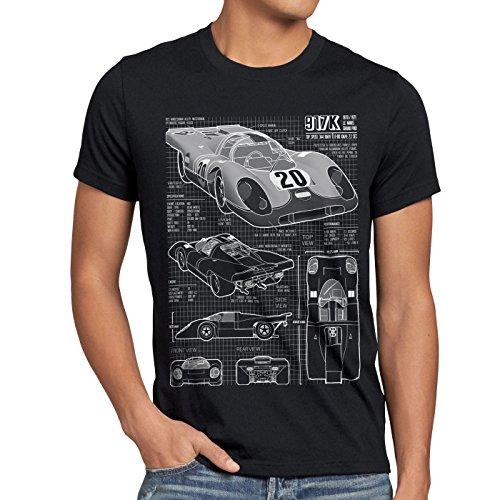 style3 917K Blaupause Herren T-Shirt Le Mans, Größe:XL, Farbe:Schwarz