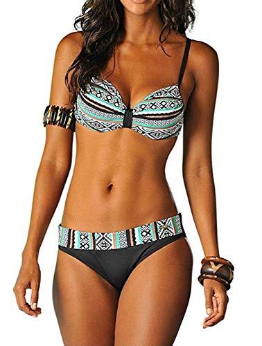FIYOTE Bikini Set Bademode Damen Geraffte Tie Dye Bandeau Bikini Badeanzüge mit Slip, 2-grün, S
