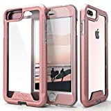 ZIZO ION Series for iPhone 8 Plus Case Military Grade Drop Tested with Tempered Glass Screen Protector iPhone 7 Plus 6s Plus Rosegold Clear