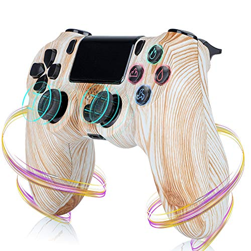 PS4 コントローラー ワイヤレス 最新バージョン 600mAh Bluetooth リンク遅延なし ジャイロセンサー機能 イヤホンジャック ゲームパット 搭載 高耐久ボタン 二重振動 TP-4271932,Wood texture