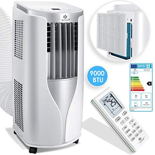 KESSER® Klimaanlage Mobiles Klimagerät 4in1 kühlen, Luftentfeuchter, lüften, Ventilator - 9000 BTU/h (2.600 Watt) 2,7KW - Klima mit Montagematerial, Fernbedienung und Timer, Nachtmodus EEK: A Weiß