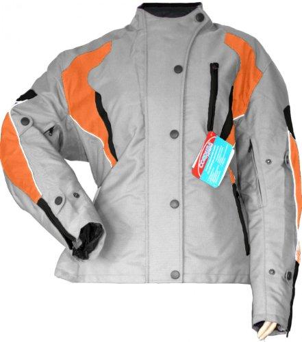 German Wear Damen Motorradjacke Textilienjacke Grau Orange, 34/XS