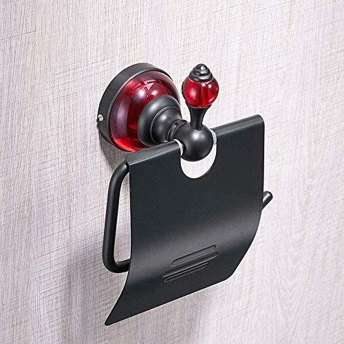 Personalidad Negro Plus Rojo Soporte de Papel higiénico con Cubierta Espacio montado en la Pared Accesorios de baño de Aluminio Dispensador de Rollo de pañuelos Estante de Almacenamiento Pintura