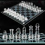 ADLOASHLOU Juego de ajedrez de Cristal, Piezas de Ajedrez de Cristal y Tablero de ajedrez de 9,8 x 9,8 Pulgadas, 16 Piezas Esmeriladas y 16 Transparentes año Nuevo
