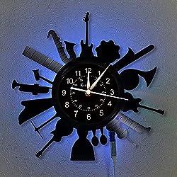 Music Vinyl Record Wall Clock LED Light 12 Vinyl Clock - Musical Instrument Wall Clock - Creative Hanging Lamp 7 Color Luminous Wall Clock.