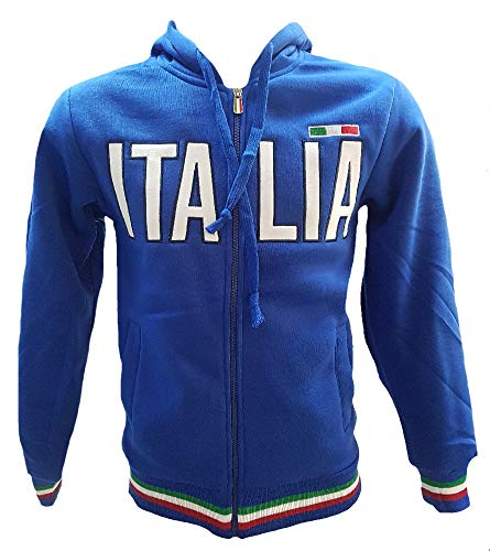 felpa italia BrolloGroup Felpa Uomo con Cappuccio Italia Turistica Azzurra o Grigia PS 32587 (M