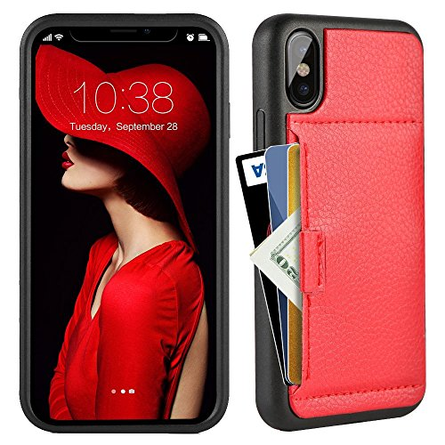 ZVE Case for Apple iPhone Xs and X, 5.8 inch, Wallet Case with Credit Card Holder Slot Slim Leather Pocket Protective Case Cover for Apple iPhone Xs and X 5.8 inch (Aries Series)- Black