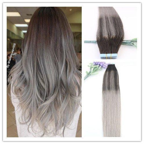 Evermagic Hair Lot de 20 extensions capillaires en cheveux naturels lisses avec bandes adhésives 35-60 cm 50 g