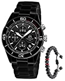 Men's Watch Chronograph Ceramic Waterproof Luminous Date Analog Quartz Luxury Wrist Watches for Men Black