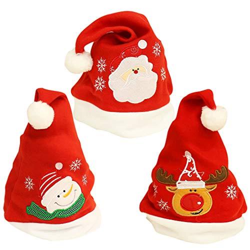 Zoylink 3pcs Chapeau De Noël Chapeau De Fête Bonhomme De Neige Santa Elk Motif Costume Chapeau pour Noël