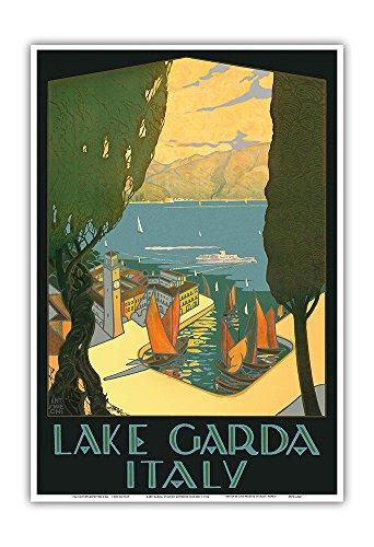 Lake Garda - Riva, Italy - Vintage World Travel Poster by Antonio Simeoni c.1926 - Master Art Print - 13in x 19in