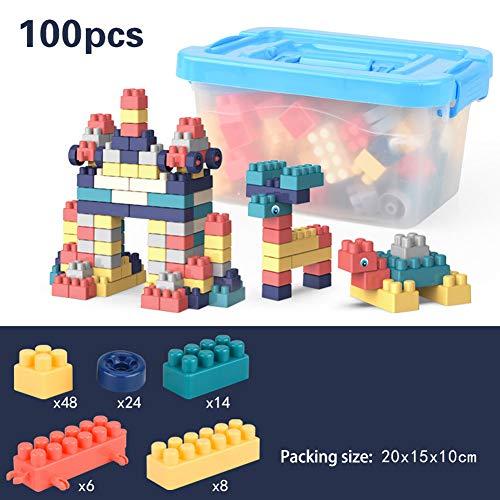 Hilai 100Pcs / Set Big Particle Plastikbausteine ??mit Box Multi Color Versammlung DIY Selbstsichernde Bricks pädagogisches Spielzeug für Kinder