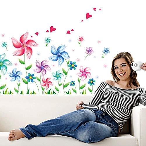 GWFVA creatieve cartoon molen bloem muur sticker woonkamer canap TV muur achtergrond muur sticker waterdicht verwijderbaar 45 * 60 cm