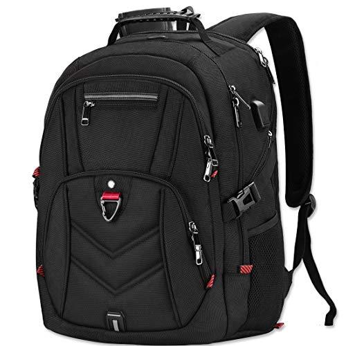 NEWHEY Zaino Porta PC Zaini Lavoro Uomo Notebook Laptop Borsa 18 18,4 Pollici Impermeabile con USB Zainetto da Viaggio Scuola Affari Grand (Nero-Plus)